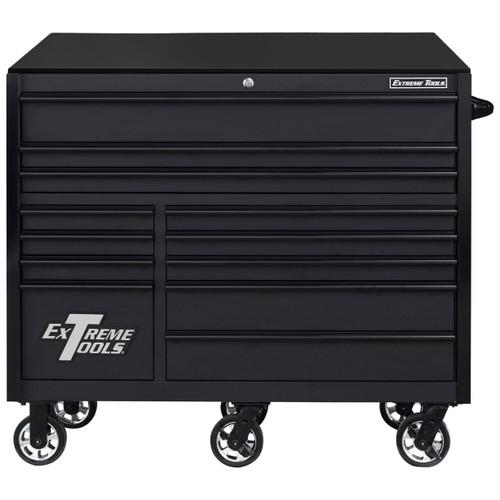 "Extreme Tools RX Series 55"" 12-Drawer Roller  - Matte Black w/Black Drawer Pulls"