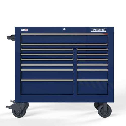 "Proto Velocity 42"" 14-Drawer Double Bank Roller Cabinet - Blue"