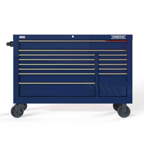 "Proto Velocity 55"" 13-Drawer Double Bank Roller Cabinet - Blue"