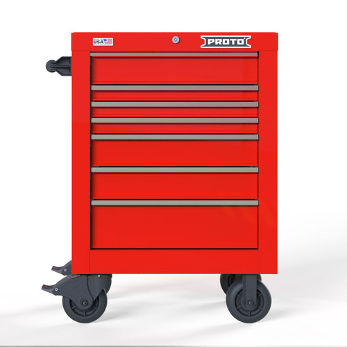 "Proto Velocity 27"" 7-Drawer Single Bank Roller Cabinet - Red"