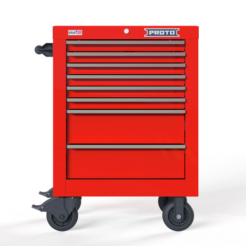 "Proto Velocity 27"" 8-Drawer Single Bank Roller Cabinet - Red"
