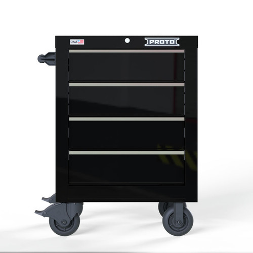 "Proto Velocity 27"" 4-Drawer Single Bank Roller Cabinet - Black"