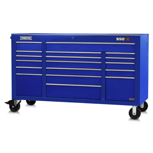 "Proto 550E 67"" Power Workstation- 18 Drawer - Gloss Blue"
