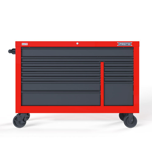 "Proto Velocity 55"" 13-Drawer Double Bank Roller Cabinet - Red/Gray"
