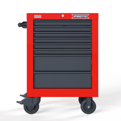 "Proto Velocity 27"" 8-Drawer Single Bank Roller Cabinet - Red/Gray"