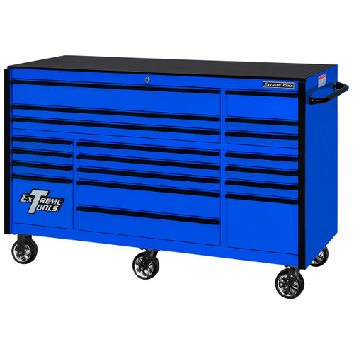 "Extreme Tools 72"" RX Series 19-Drawer 25"" Deep Roller Cabinet, 150 lb Slides - Blue w/Black Handles"
