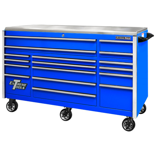 """Extreme Tools EXQ Series 72"""" 17-Drawer Professional Triple Bank Roller - Blue w/Chrome Drawer Pulls"""