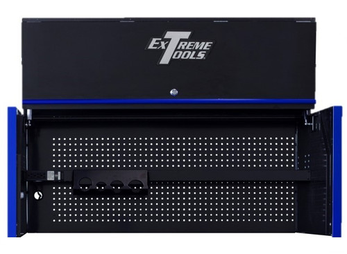 "Extreme Tools RX Series 55"" x 25"" Deep Professional Hutch - Black w/Blue Handle and Trim"