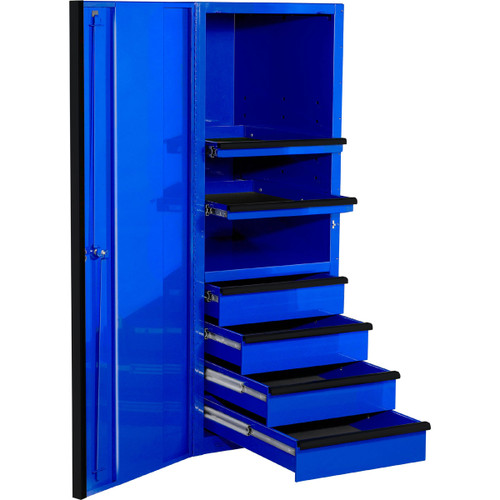 "Extreme Tools EXQ Series 24""W x 30""D 4-Drawer/2 Shelf Professional Side Cabinet- Blue w/Black Handles"