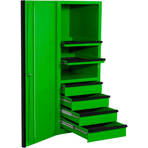 "Extreme Tools EXQ Series 24""W x 30""D 4-Drawer/2 Shelf Professional Side Cabinet- Green w/Black Handles"