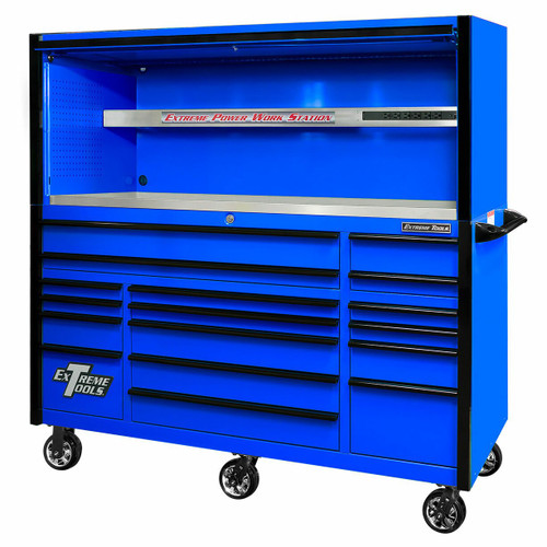 """Extreme Tools EXQ Series 72"""" 17-Drawer Professional Triple Bank Roller and Hutch Combo - Blue w/Black Drawer Pulls"""