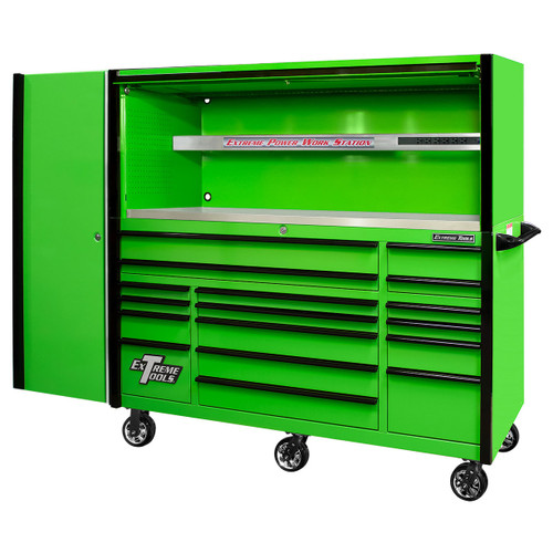"""Extreme Tools EXQ Series 72"""" 17-Drawer Professional  Triple Bank Roller, Hutch & Side Locker - Green w/Black Drawer Pulls"""