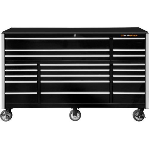 "GearWrench 72"" 21-Drawer 25"" Deep Roller Cabinet - Black with Chrome Handles"