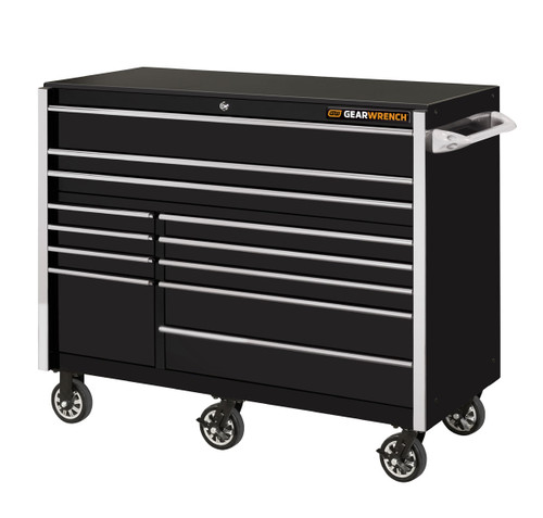 """GearWrench 55"""" 12-Drawer 25"""" Deep Roller Cabinet - Black with Chrome Handles"""