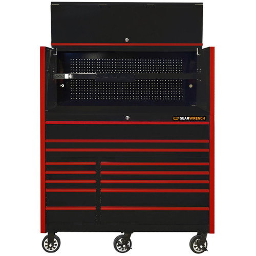 """GearWrench 55"""" x 25"""" Deep Roller Cabinet and Hutch - Black w/Red Handle and Trim"""