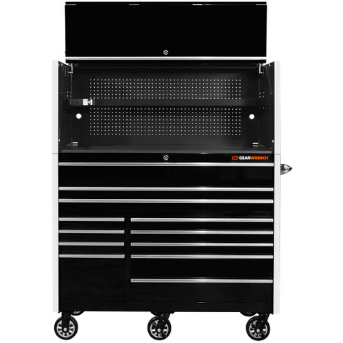 """GearWrench 55"""" x 25"""" Deep Roller Cabinet and Hutch - Black w/Chrome Handle and Trim"""