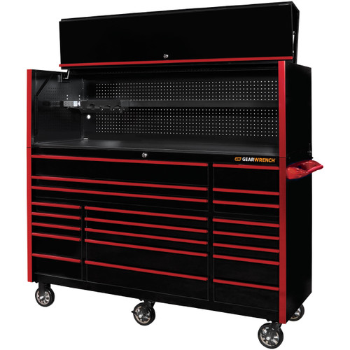 """GearWrench 72"""" 21-Drawer 25"""" Deep Roller Cabinet and Hutch - Black with Red Handles"""