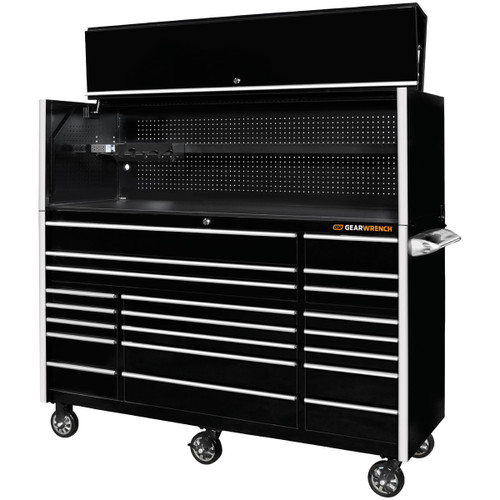 "GearWrench 72"" 21-Drawer 25"" Deep Roller Cabinet and Hutch - Black with Chrome Handles"