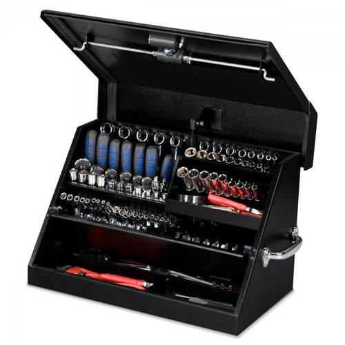 "Montezuma 23"" x 14"" Portable Steel Toolbox - Black"