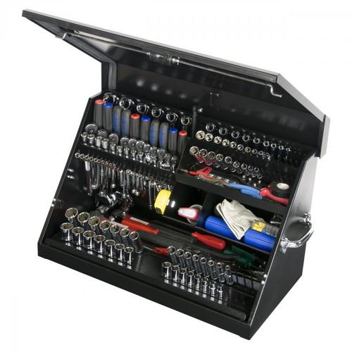 """Montezuma 30"""" x 15"""" Portable Steel Toolbox - Black"""