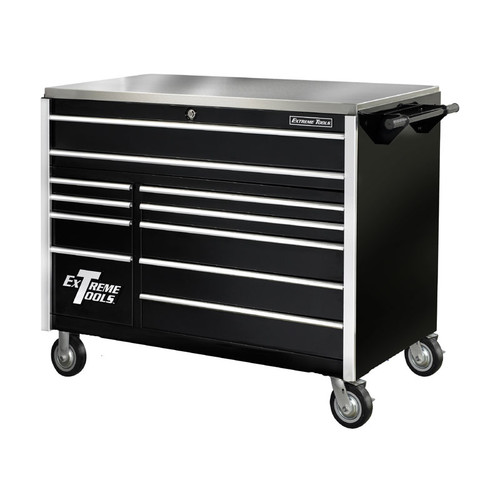 "Extreme Tools 55"" 11-Drawer Professional Roller Cabinet w/ Stainless Steel Top - Black"