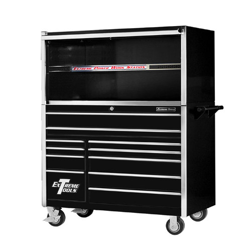 "Extreme Tools 55"" 11-Drawer Professional Roller Cabinet with Hutch"