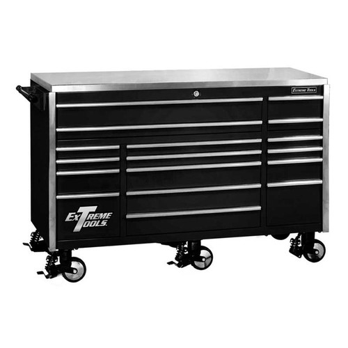 "Extreme Tools 72"" 17-Drawer Professional Triple Bank Roller Cabinet - Black"