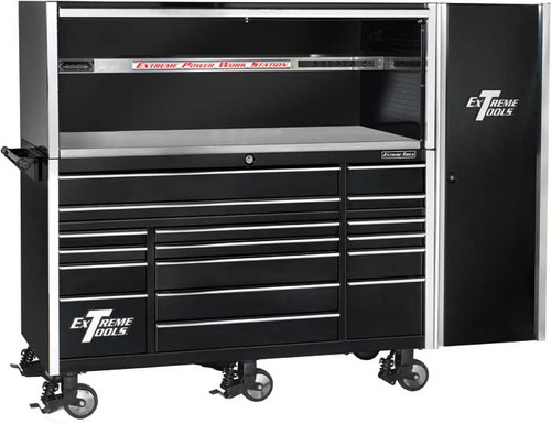 "Extreme Tools 72"" 17-Drawer Professional Roller Cabinet with Hutch and Side Cabinet - Black"