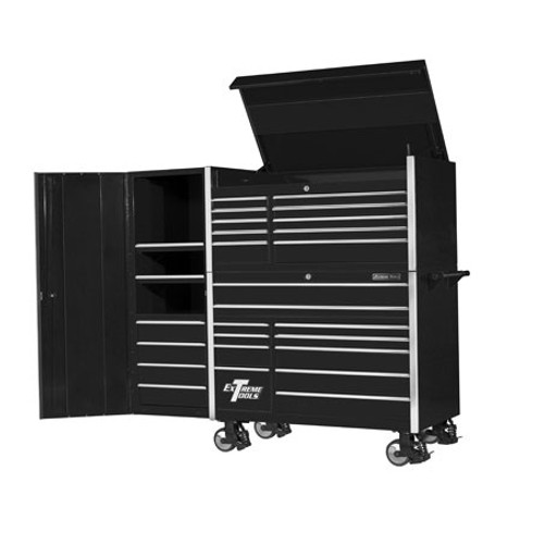 "Extreme Tools 55"" 11-Drawer Professional Roller Cabinet with Tool Chest and Side Cabinet"
