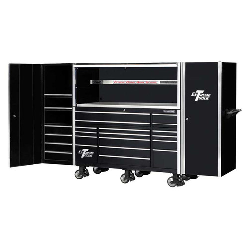 "Extreme Tools 72"" 17-Drawer Professional Roller Cabinet with Hutch and (2) Side Cabinets"