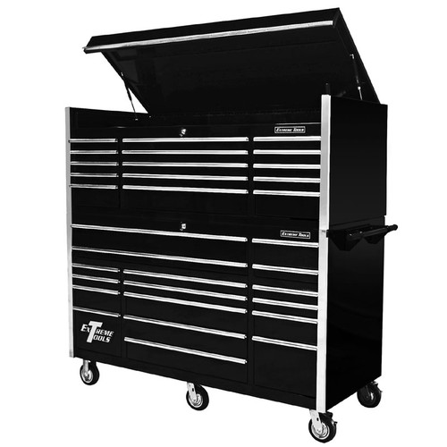 "Extreme Tools 72"" 17-Drawer Professional Roller Cabinet with Top Chest - Black"