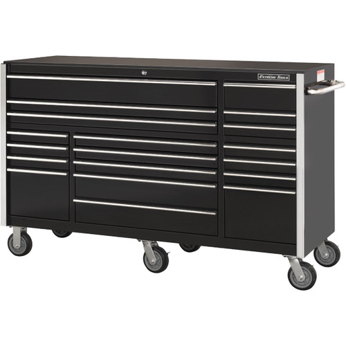 """Extreme Tools 72"""" RX Series 19-Drawer 25"""" Deep Roller Cabinet - Black"""