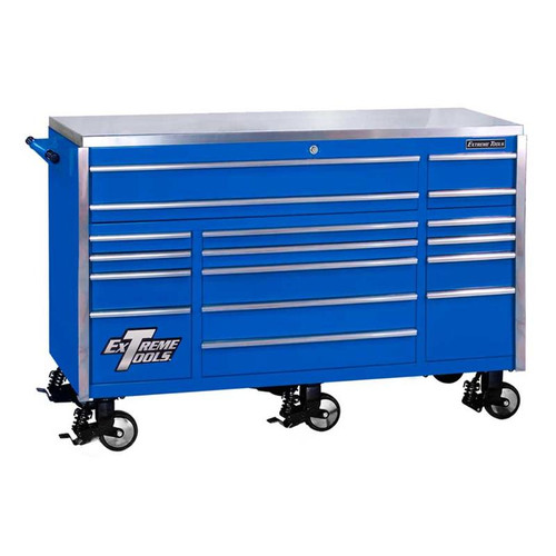 "Extreme Tools 72"" 17-Drawer Professional Triple Bank Roller Cabinet - Blue"