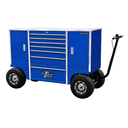 """Extreme Tools 70"""" Pit Box  with 7 Drawers & 2 Side Compartments - Blue"""