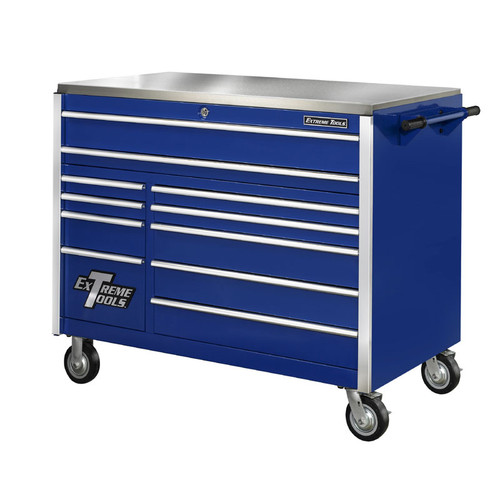 "Extreme Tools 55"" 11-Drawer Professional Roller Cabinet w/ Stainless Steel Top - Blue"