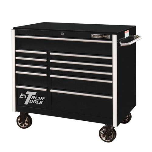 """Extreme Tools RX Series 41"""" 11-Drawer Roller Cabinet - Black"""