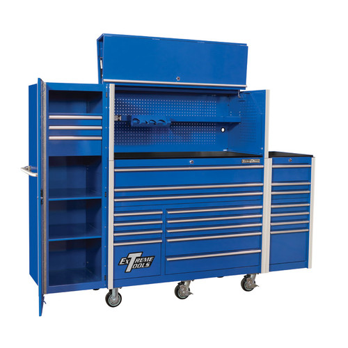 "Extreme Tools RX Series 55"" 12-Drawer Roller with Hutch and Side Boxes"