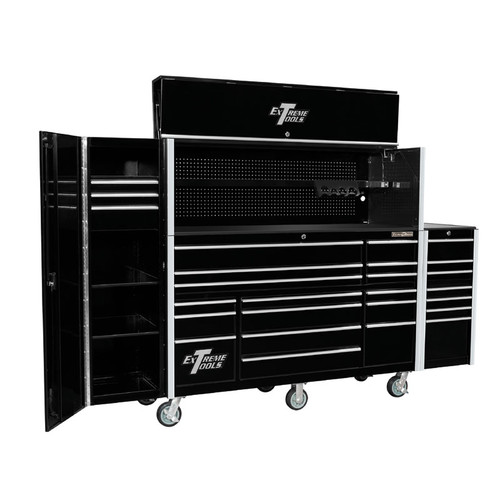 "Extreme Tools 72"" RX Series 19-Drawer 25"" Deep Roller Cabinet with Hutch and Side Boxes"