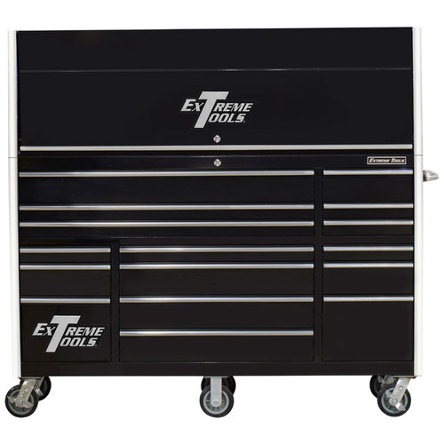 "Extreme Tools 72"" RX Series 19-Drawer 25"" Deep Roller Cabinet with Hutch - Black"