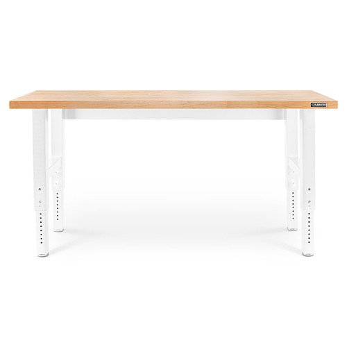 Gladiator Premier White 6 ft Adjustable Height Hardwood Workbench