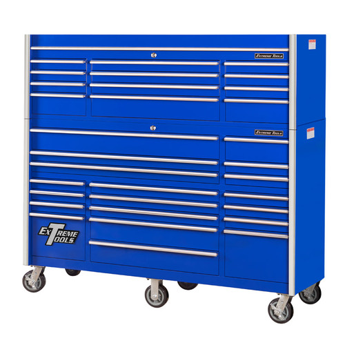 "Extreme Tools 72"" RX Series 31-Drawer 25"" Deep Roller Cabinet and Chest Combo - Blue"