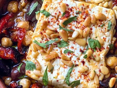 Baked Feta with Olives, Chick Peas & Pine Nuts