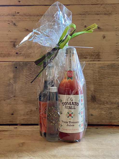 Bloody Mary Gift Set: Tomato Stall Pure Tomato Juice, Henderson's Relish, Sapling Vodka Mini