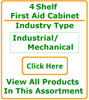 First Aid Kit (Cabinet) – Stocked – Industrial Product Fill – 4 Shelf with Pockets