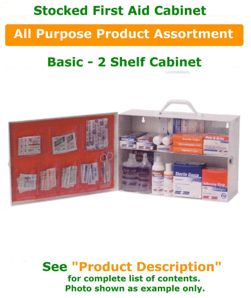 First Aid 2 Shelf Metal Cabinet, Full W/ Pockets - Products in photograph are for example purposes only.  See Product Description for complete contents of this stocked cabinet.