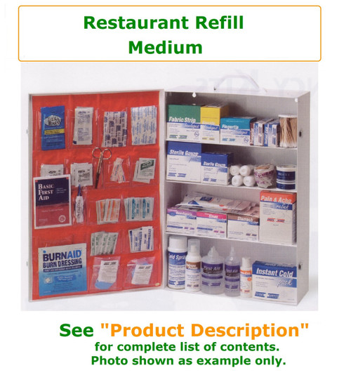 Complete variety of products to resupply an empty medium restaurant cabinet. Have all of the products you need to be prepared for your restaurant Workforce.