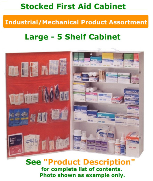 """First Aid Cabinet/First Aid Wall Kit - Industrial/Mechanical Product Assortment. See """"Product Description"""" for list of contents."""