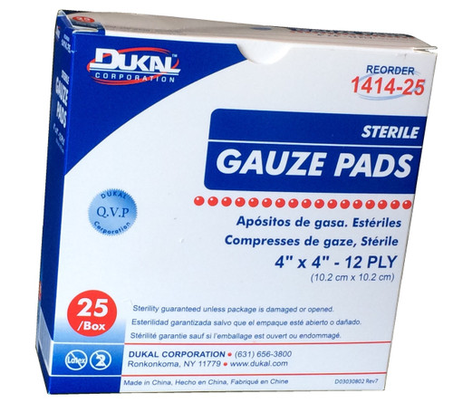 """STERILE  Gauze Pads 4"""" x 4"""" - Individually Wrapped 25/Box"""