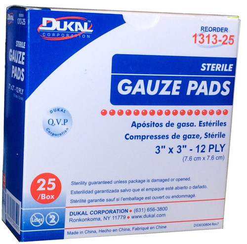 """Gauze Pads 3"""" x 3"""" - Sterile - Individually wrapped - 25 Per Box"""