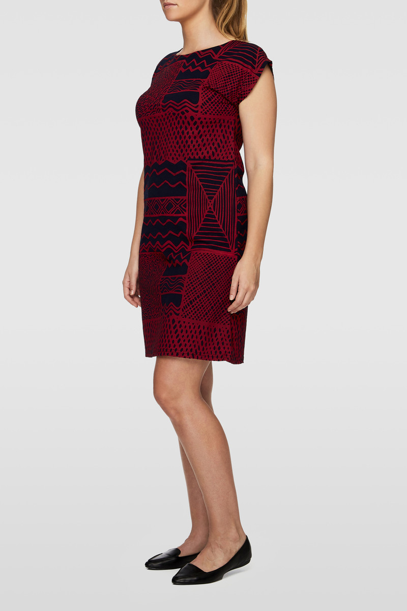 Box Dress - Turtini Red Navy